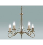 180-5An 5 Light Pendant Fitting Only - Antique Brass