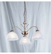 3 LIGHT ANTIQUE BRASS FITTING WITH ALABASTER GLASS