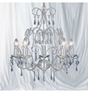 5 LIGHT SATIN SILVER FITTING WITH CRYSTAL TEARDROPS