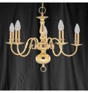 5 LIGHT POLISHED BRASS FLEMISH FITTING