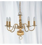 5 LIGHT ANTIQUE BRASS FLEMISH FITTING