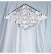 SATIN SILVER DOUBLE GLASS 5 LIGHT PENDANT