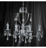 5 LIGHT MODERN CHROME CHANDELIER COMPLETE WITH CRYSTAL
