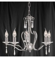 5 LIGHT CHROME FITTING CLEAR GLASS DROPS/PANS