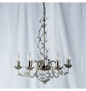 5 LIGHT ANTIQUE BRASS FITTING WITH MAPLE LEAF CRYSTAL
