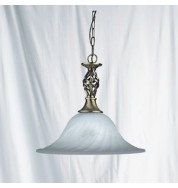 MARBLE GLASS PENDANT COMPLETE WITH ANTIQUE BRASS SUSPENSION
