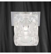 1 LIGHT CHROME RECESSED FITTING CLEAR CUBE GLASS