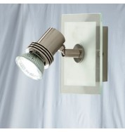 1 LIGHT SATIN SILVER/GLASS SQUARE SPOTLIGHT GU10