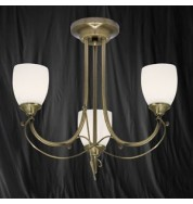 3 LIGHT ANTIQUE BRASS SEMI FLUSH WITH OPAL GLASS